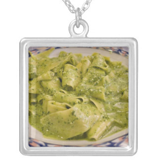 Italy, Camogli. Plate of pasta with pesto Silver Plated Necklace