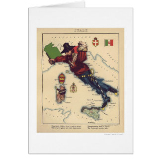 Italy Caricature Map 1868 Card