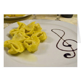 Italy, Cento. A plate of cheese tortellini Card