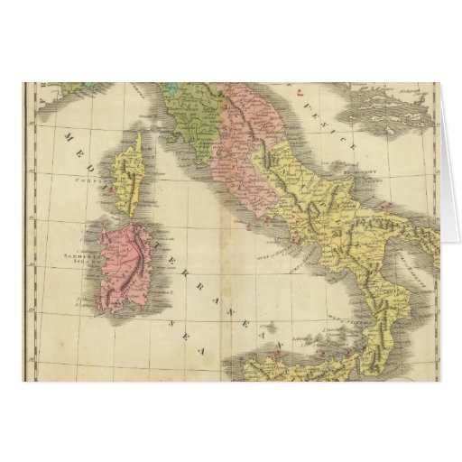 Italy Chonology Atlas Map Greeting Card