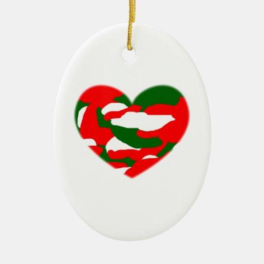 Italy Christmas Camo Heart Ceramic Ornament