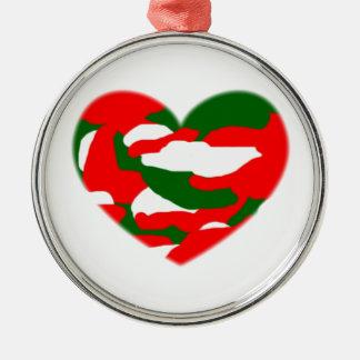 Italy Christmas Camo Heart Metal Ornament