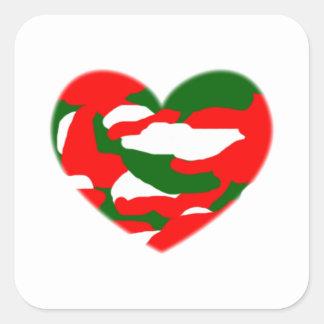 Italy Christmas Camo Heart Square Sticker