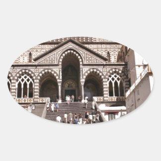 Italy, Church on the Amalfi coast Oval Sticker