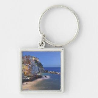 Italy, Cinque Terre, La Spezia Province, Silver-Colored Square Keychain