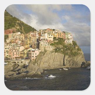 Italy, Cinque Terre, Manarola. Village on cliff. Square Sticker