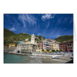 Italy, Cinque Terre, Vernazza, Harbor and Church 2 Greeting Cards