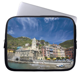 Italy, Cinque Terre, Vernazza, Harbor and Church 2 Laptop Sleeves