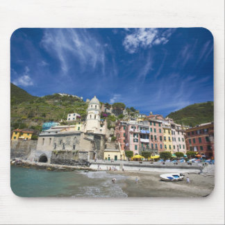 Italy, Cinque Terre, Vernazza, Harbor and Church 2 Mouse Pad