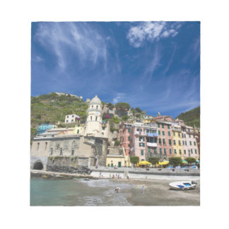 Italy, Cinque Terre, Vernazza, Harbor and Church 2 Notepad