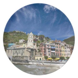 Italy, Cinque Terre, Vernazza, Harbor and Church 2 Plates