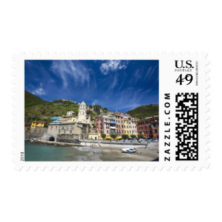 Italy, Cinque Terre, Vernazza, Harbor and Church 2 Postage Stamp