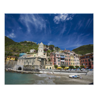 Italy, Cinque Terre, Vernazza, Harbor and Church 2 Poster