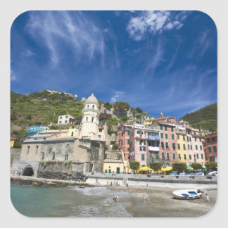 Italy, Cinque Terre, Vernazza, Harbor and Church 2 Square Sticker
