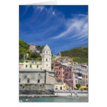 Italy, Cinque Terre, Vernazza, Harbor and Church Cards
