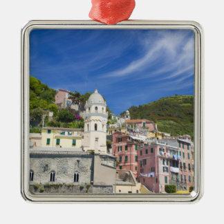 Italy, Cinque Terre, Vernazza, Harbor and Church Metal Ornament
