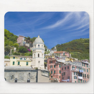 Italy, Cinque Terre, Vernazza, Harbor and Church Mouse Pad