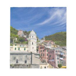 Italy, Cinque Terre, Vernazza, Harbor and Church Notepad