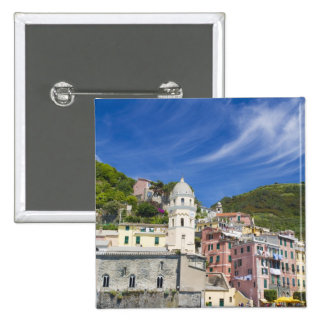 Italy, Cinque Terre, Vernazza, Harbor and Church Pinback Button