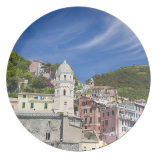 Italy, Cinque Terre, Vernazza, Harbor and Church Party Plates