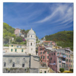 Italy, Cinque Terre, Vernazza, Harbor and Church Tiles