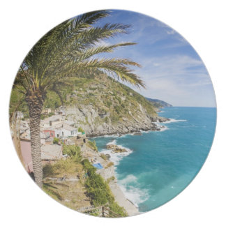 Italy, Cinque Terre, Vernazza, Hillside Town of Melamine Plate