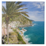 Italy, Cinque Terre, Vernazza, Hillside Town of Large Square Tile