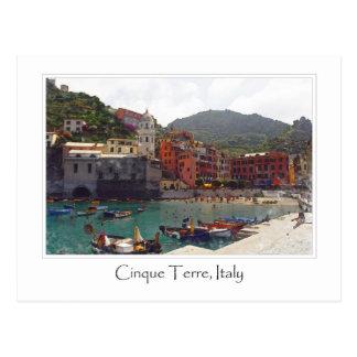 Italy Cinque Terre Vernazza Tourist Destination Postcard