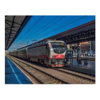 Italy Class E-402 in passenger train. Postcard