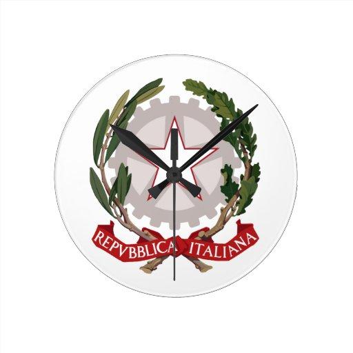 Italy Coat Of Arms Round Wall Clocks