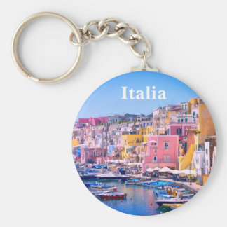 Italy Colorful Fishing Harbor Travel Souvenir Keychain