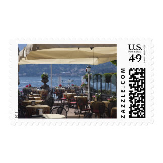 Italy, Como Province, Bellagio. Lakeside cafe. Postage