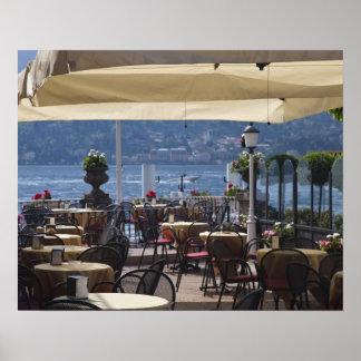Italy, Como Province, Bellagio. Lakeside cafe. Poster