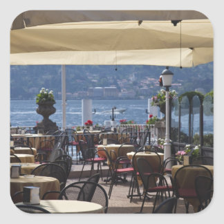 Italy, Como Province, Bellagio. Lakeside cafe. Square Sticker