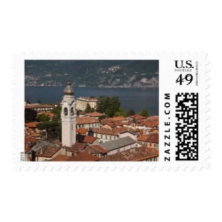 Italy, Como Province, Menaggio. Town view and 2 Postage Stamp