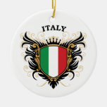 Italy Double-Sided Ceramic Round Christmas Ornament