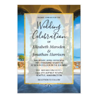 Italy Elegant Blue Green Gold Wedding Invitation