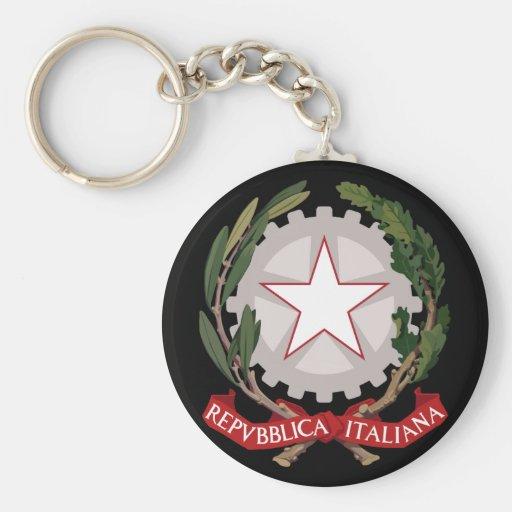 italy emblem basic round button keychain