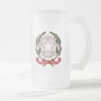 italy emblem frosted glass beer mug