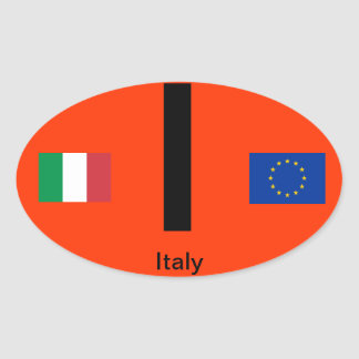 Italy* Euro-Style Oval BumperSticker Stickers