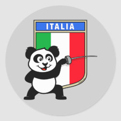 Round Sticker with Italian Fencing Panda design