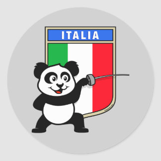 Italy Fencing Panda Classic Round Sticker