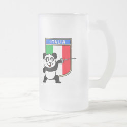 Frosted Glass Mug with Italian Fencing Panda design