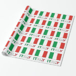 Italy Flag and Word Gift Wrap