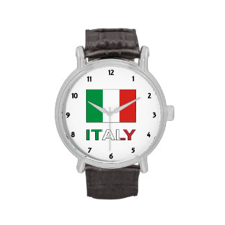 Italy Flag and Word Wrist Watches