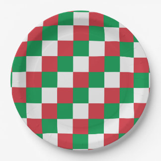 Italy Flag Colors Squares Paper Plate
