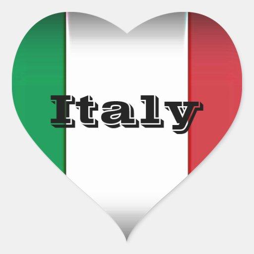 Italy Flag Dark Edge Heart Sticker
