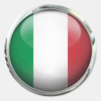 Italy Flag Glass Ball Classic Round Sticker