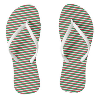 Italy Flag Green, White, Red Stripes Flip Flops