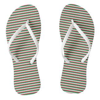 Italy Flag Green, White, Red Stripes Flip Flops